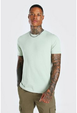 Sage green Basic Crew Neck T-Shirt