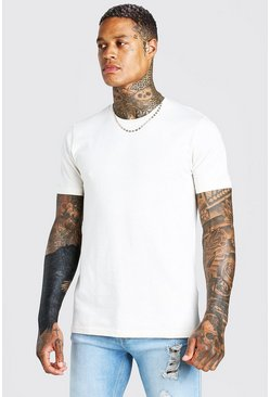 Ecru white Basic Crew Neck T-Shirt