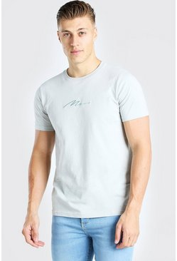 Silver MAN Signature Embroidered T-Shirt