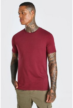 Burgundy red Crew Neck T-Shirt With Rolled Sleeves