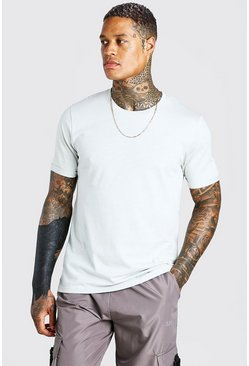 Silver Crew Neck T-Shirt With Rolled Sleeves