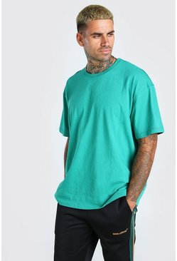 Green Oversized Basic Crew Neck T-Shirt