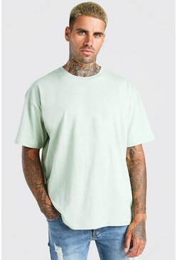Sage green Oversized Basic Crew Neck T-Shirt