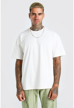 Ecru white Oversized Basic Crew Neck T-Shirt