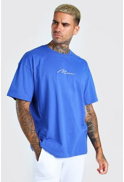 Cobalt blue Oversized MAN Signature Embroidered T-Shirt