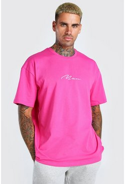 Pink Oversized MAN Signature Embroidered T-Shirt