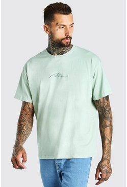 Sage Oversized MAN Signature Embroidered T-Shirt