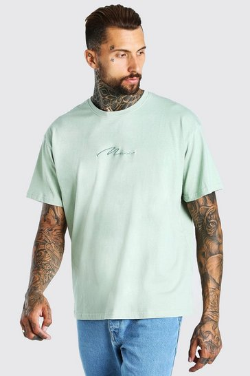 Sage green Oversized MAN Signature Embroidered T-Shirt