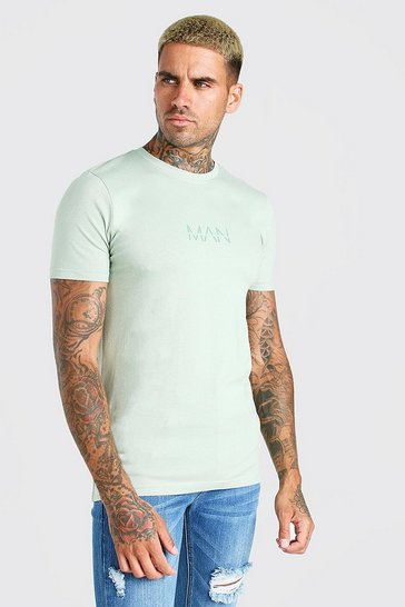 Sage green Muscle Fit Original MAN T-Shirt