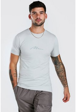 Zilver silver Muscle Fit MAN Signature t-shirt