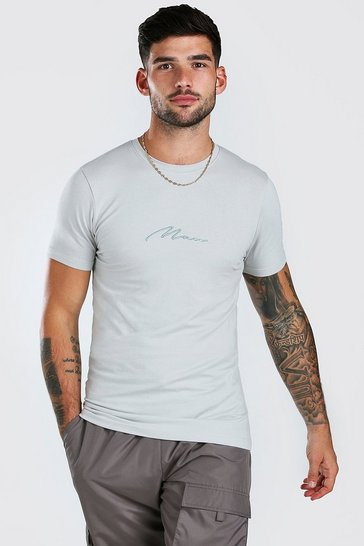 Silver Muscle Fit MAN Signature T-Shirt