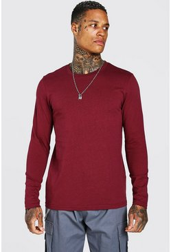 Burgundy red Basic Long Sleeve Crew Neck T-Shirt