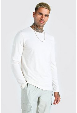 Ecru white Basic Long Sleeve Crew Neck T-Shirt