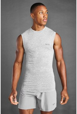 Grey marl grey Man Active Marl Muscle Fit Tank Top