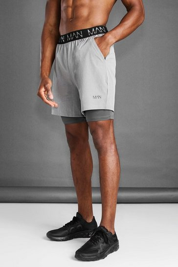 Grey marl grey MAN Active 2 In 1 Marl Short