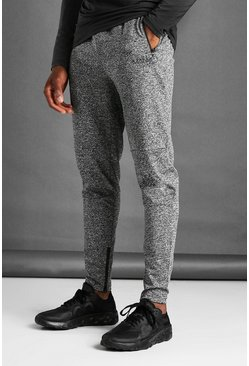 Charcoal grey MAN Active Skinny Fit Marl Joggers
