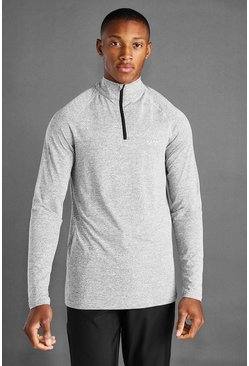 Grey marl grey MAN Active 1/4 Zip Marl Top