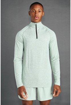 Khaki MAN Active 1/4 Zip Marl Top