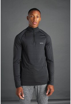 Black MAN Active 1/4 Zip Marl Top