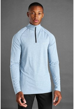 Blue MAN Active 1/4 Zip Marl Top