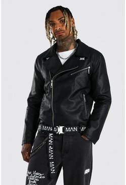 Black Leather Look MAN Branded Belt Biker Jacket