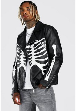 Black Skeleton Print Biker Jacket