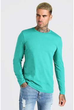 Green Basic Long Sleeve Crew Neck T-Shirt