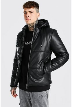 Black Leather Look Puffer With Hood