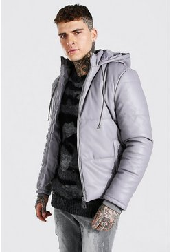 Grey Leather Look Puffer With Hood