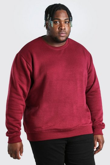 Burgundy red Plus Size Basic Sweater