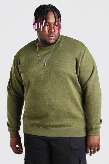 Khaki Plus Size Basic Sweater