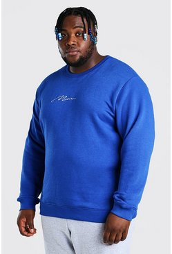 Felpa Big And Tall con ricamo MAN, Blu cobalto azzurro