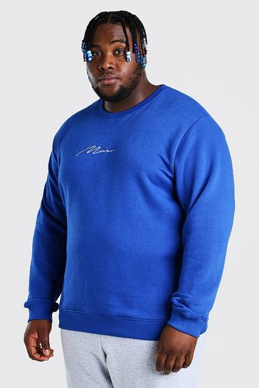 Cobalt blue Plus Size MAN Script Embroidered Sweater