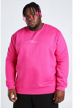 Pink Big And Tall MAN Script Embroidered Sweater