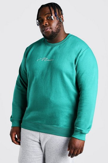Green Plus Size MAN Script Embroidered Sweater