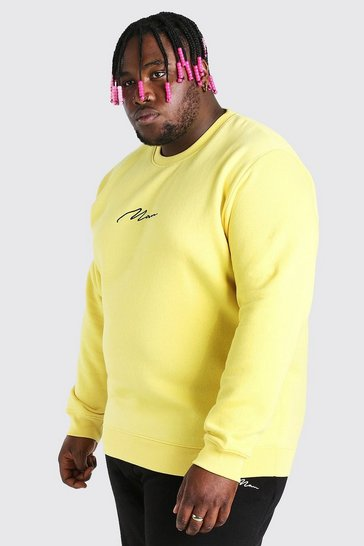 Yellow Plus Size MAN Script Embroidered Sweater