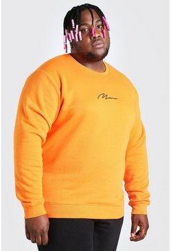 Felpa Big And Tall con ricamo MAN, Arancio