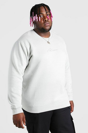 Silver Plus Size MAN Script Embroidered Sweater