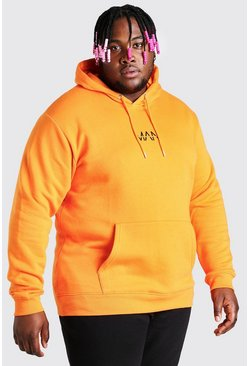 Big And Tall Hoodie mit MAN-Streifen, Orange