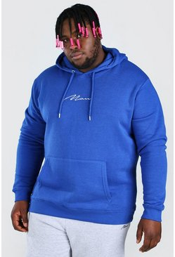 Cobalt blue Plus Size MAN Script Embroidered Hoodie