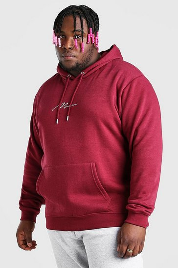 Burgundy red Plus Size MAN Script Embroidered Hoodie