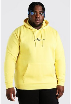 Yellow Big And Tall MAN Script Embroidered Hoodie
