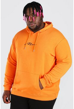 Orange Big And Tall MAN Script Embroidered Hoodie