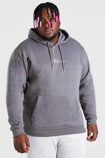 Slate grey Plus Size MAN Script Embroidered Hoodie