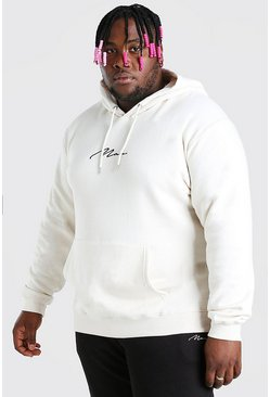 Ecru white Big And Tall MAN Script Embroidered Hoodie