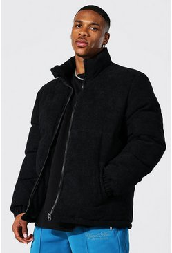 Black Corduroy Funnel Neck Puffer