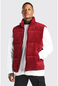 Burgundy red Cord Funnel Neck Gilet