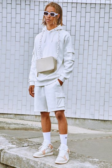 White Manogram Velour Cargo Short Hooded Tracksuit