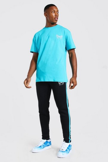 Turquoise blue Reflective Butterfly T-Shirt & Jogger Set