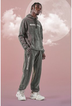 Charcoal grey Official Man Acid Wash Tracksuit